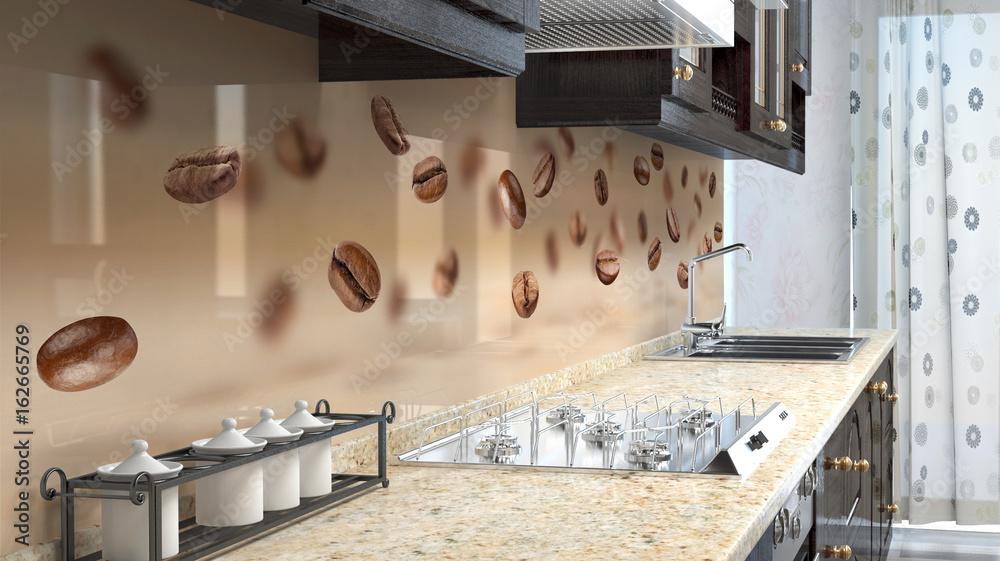 Fototapeta Kitchen printed glass backsplash.