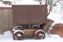 Antique Mining Cart In Colorado Rocky Mountains