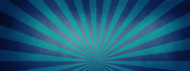 blue and purple retro sunburst background design with vintage vignette and texture, cool groovy sun rays or beams in striped radial pattern
