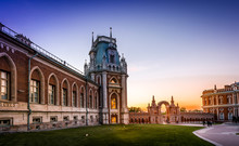 Sunset View Of Tsaritsyno Palace In Moscow.