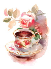 Watercolor Vintage Porcelain T...