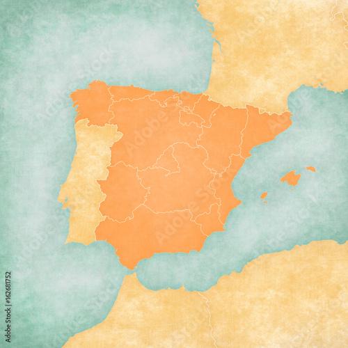 Photo  Map of Iberian Peninsula - Spain (Blank Map)