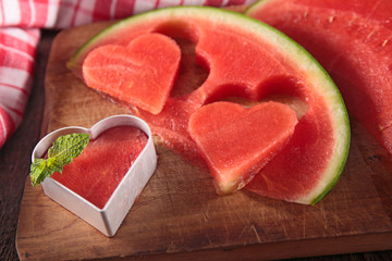 Fototapeta na wymiar watermelon slice cut in heart shape