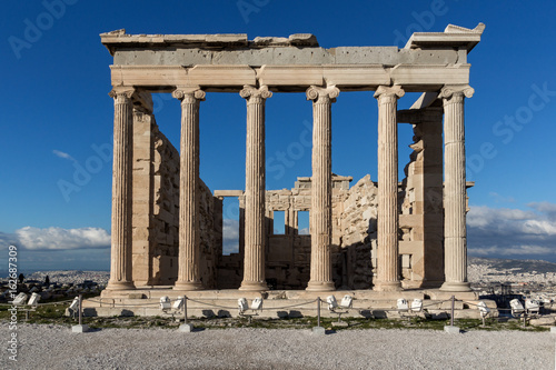 Fotobehang Athene Ancient Greek temple The Erechtheion on the north side of the Acropolis of Athens, Attica, Greece