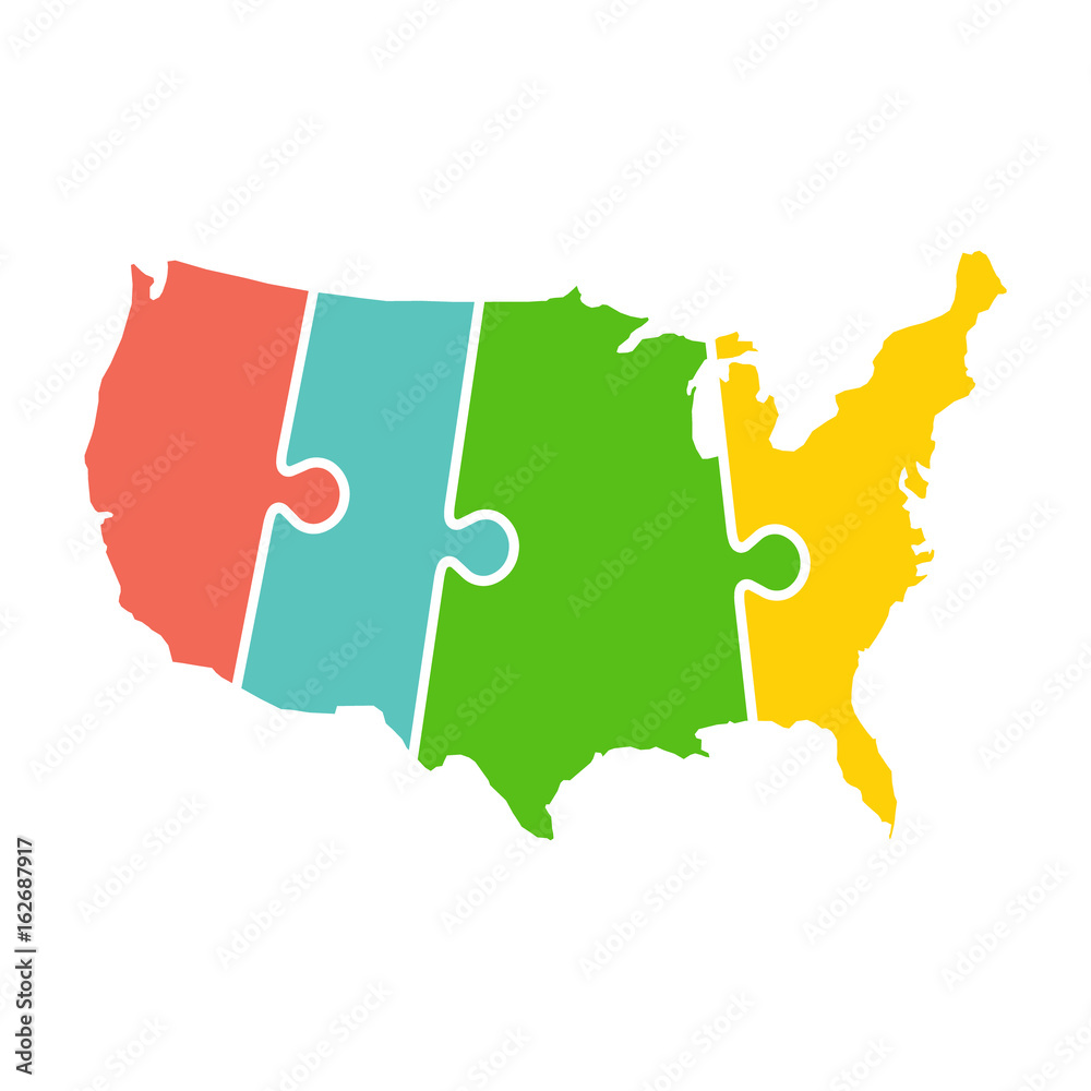 United States Map Time Zones Puzzle Foto, Poster, Wandbilder bei ...