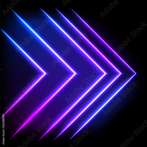 Colorful neon arrow background, vector abstract illustration.
