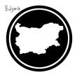 vector illustration white map of Bulgaria on black circle, isolated on white background