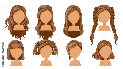 Hair Beautiful hairstyle woman modern fashion for assortment. long hair, short hair, curly hair salon hairstyles and trendy haircut vector icon set isolated on white background.