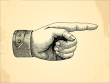 Human Left Handpoint,sketch Style Vintage