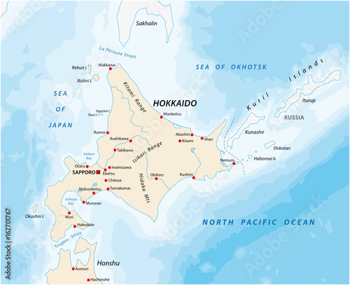 A map of the North Japanese island Hokkaido - Buy this stock ...