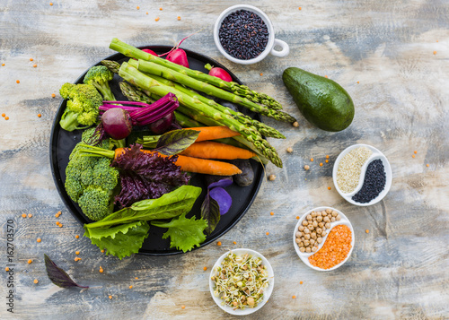 Tuinposter Boeddha Ingredients to prepare Buddha bowl. Healthy and balanced food.