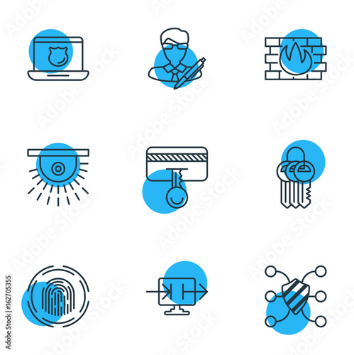 Photo  Vector Illustration Of 9 Privacy Icons