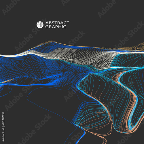 Wavy abstract graphic design, vector background. Wall mural
