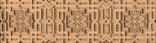 Fotomural Impressive decorative element, gilded and polychromatic parquet arabesque