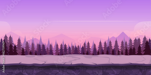 Background for your game, created in modern purple colours. Sunset and twilight time.