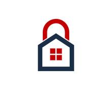 Lock House Icon Logo Design Element