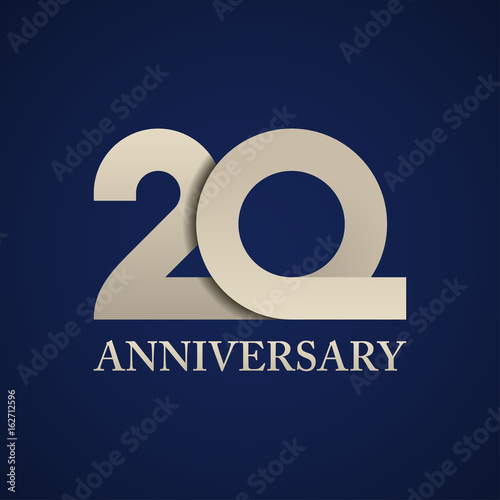 Photo  20 years anniversary paper number vector