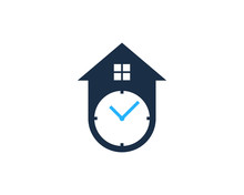 House Time Icon Logo Design El...