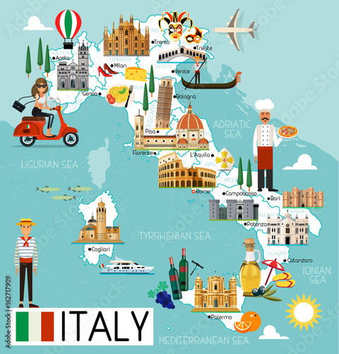 Italy Travel Map. Tablou Canvas