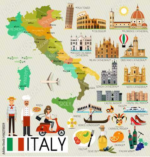 Fotografie, Tablou  Italy Travel Map.