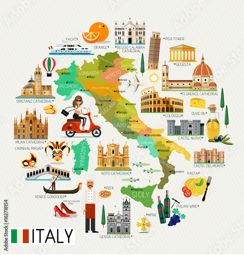 Italy Travel Map. Fototapet