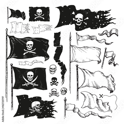 Valokuva Vector illustrated set of various waving pirate flags