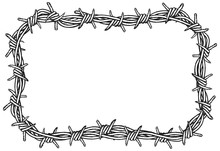 Rectangular Border Of Barbed Wire. Clipart Illustration Of A Barbed Wire Border On A White Background.