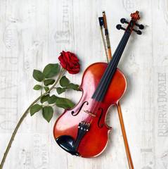Obraz na płótnie Canvas antike Geige und rote Rose