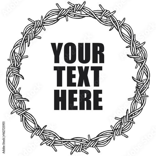 Circular border of barbed wire. Clipart illustration of a barbed ...