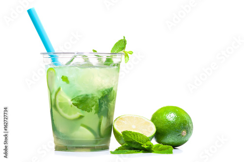 mojito cocktail in plastic cup Canvas-taulu