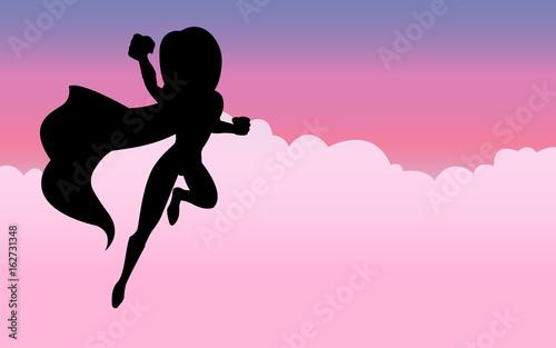 Photo  Heldin mit pinkem Hintergrund