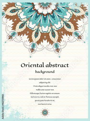 Tuinposter Abstract bloemen Vector card. Oriental round pattern on vintage background. Shabby surface. Place for your text. Perfect for greetings, invitations or announcements.