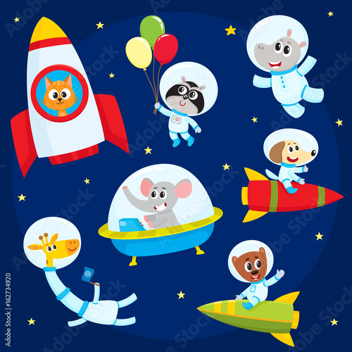 Photo  Cute little animal astronauts, spacemen flying in rocket, space suits, ufo, cartoon vector illustration isolated on a white background