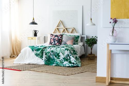 Fotografie, Obraz  Stylish bedding and modern furniture