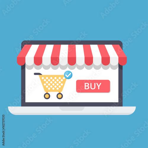 Obraz na plátně  Online shopping concept with open laptop and online shop