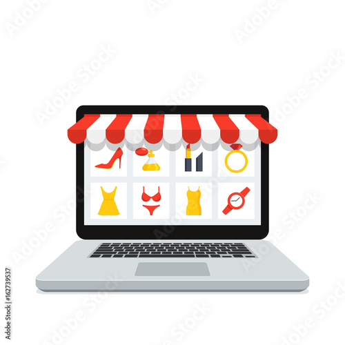 Fotografie, Obraz  Online shopping concept with realistic laptop and online shop