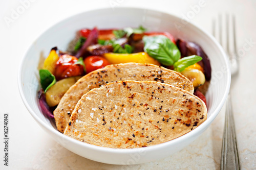 Meat free chicken flavour mycoprotein fillets with grilled vegetables