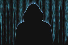 Hacker Silhouette In Front Of Falling Numbers And Characters. Cyber Crime Concept