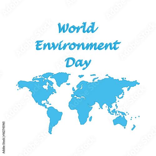 Modern Day World Map.World Environment Day Symbolic World Map Blue Isolated On White