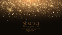 Abstract Polygonal Background From Connected Triangles And Dots. Modern Technologies In Design. Luminous Particles Of Golden Color In The Dark. Big Data