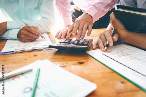 Business meetings with government and private borrowers with co-workers and a tax advisor to assign roles of employees in the organization of each agency Canvas Print