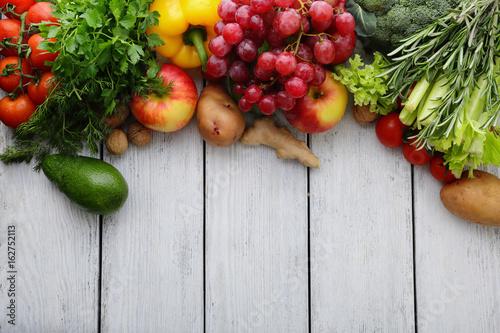 market fresh vegetable, garden produce on wood
