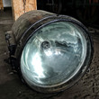 Large railway lamp with silver reflector