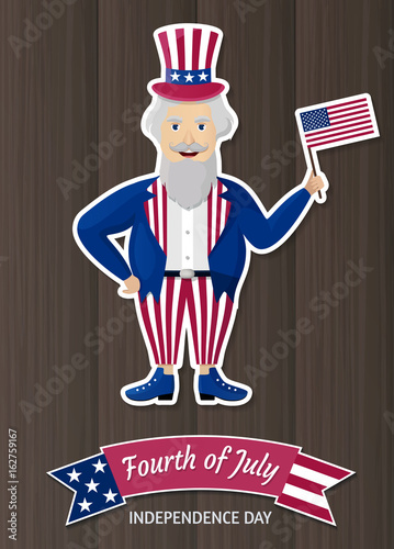 Garden Poster Fairytale World Happy Independence Day USA. Fourth of July. Patriotic attributes, party invitation. Vector illustration EPS10.