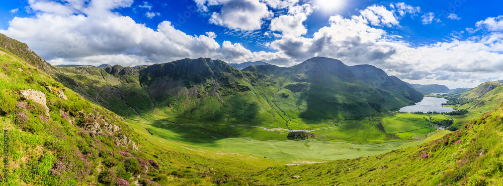 Fototapety, obrazy: Panoramic view of Buttermere valley, The Lake District, Cumbria, England