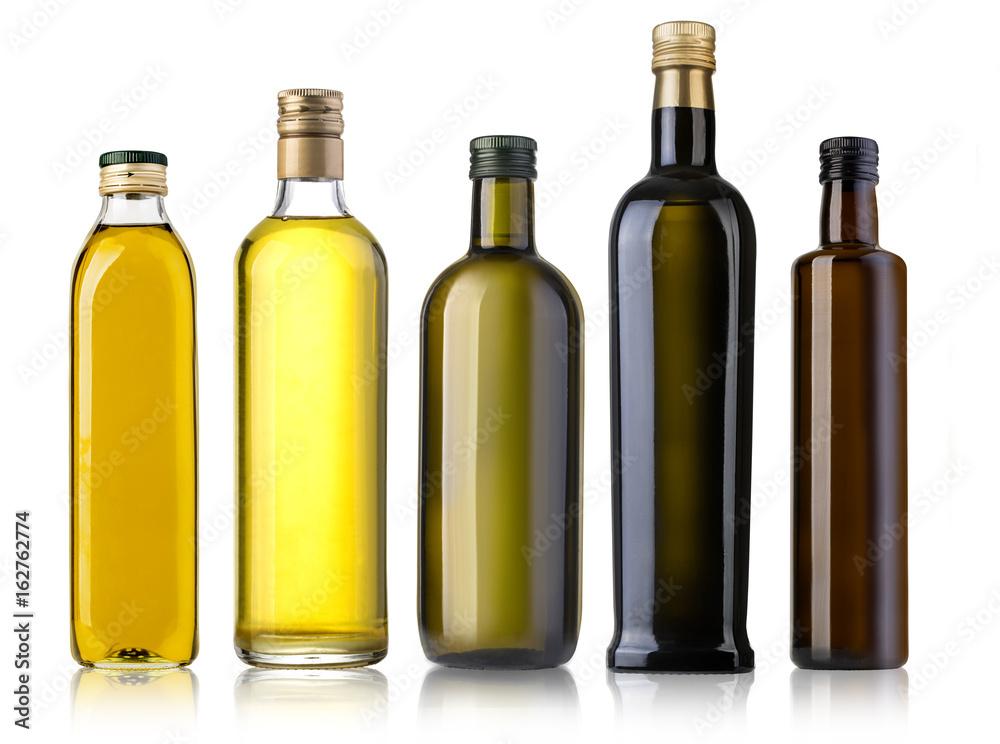 Fototapety, obrazy: Olive oil bottle on white