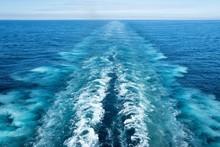 Kielwasser Hinter Einem Schiff Auf Dem Europäischen Nordmeer