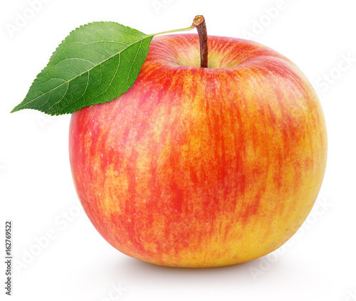 Fototapeta Jabłko  single-ripe-red-yellow-apple-fruit-with-green-leaf-isolated-on-white-background-with-clipping-path