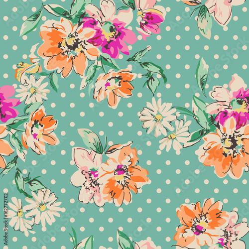 retro-recznie-rysowane-kwiaty-na-tle-polka-dot-bezszwowe-tlo
