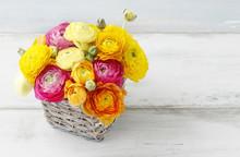 Bouquet Of Colorful Ranunculus...
